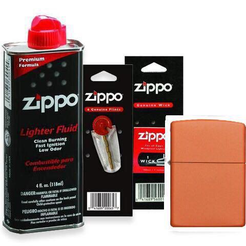 Combo 4 sản phẩm : Bật lửa Zipp Matte Pocket Lighter 231+Xăng+Đá+Bấc