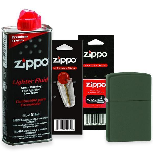 Combo 4 sản phẩm : Bật lửa Zipp Classic Matte Green 221+Xăng+Đá+Bấc