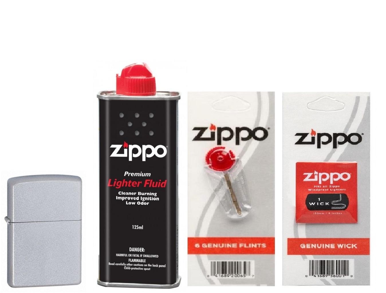 Combo 4 sản phẩm : Bật lửa Zippo Satin Chrome 205+Xăng+Đá+Bấc