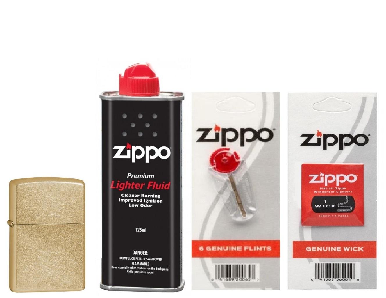 Combo 4 sản phẩm : Bật lửa Zippo Gold Dust 207G+Xăng+Đá+Bấc