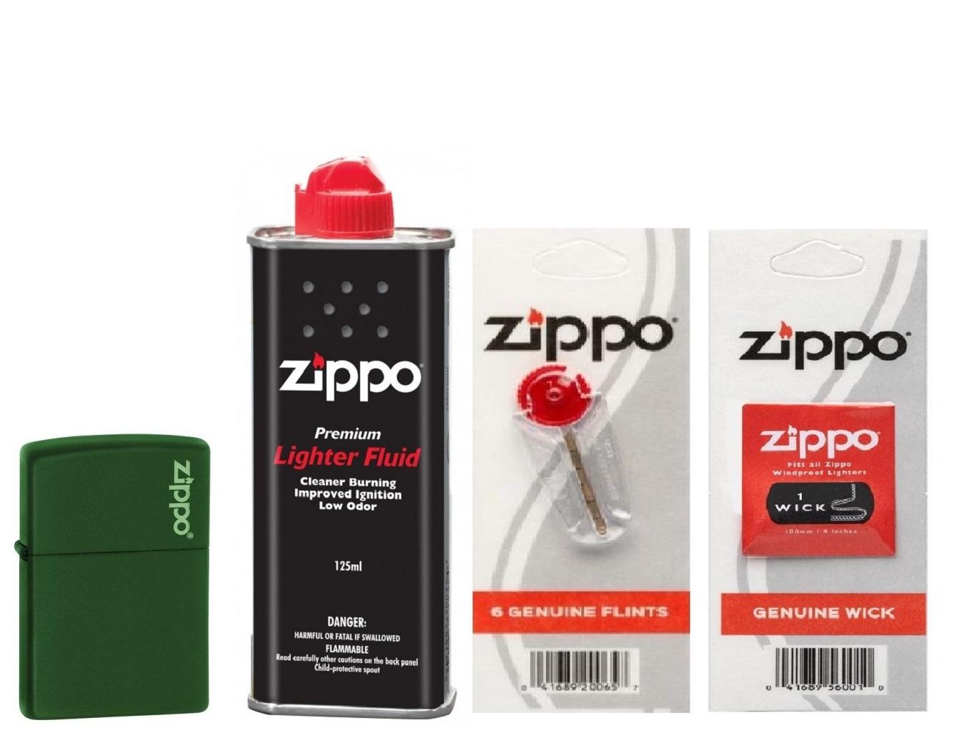 Combo 4 sản phẩm : Bật lửa Zippo Matte Green with Logo 221ZL+Xăng+Đá+Bấc
