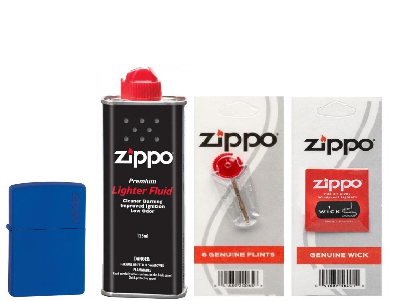 Combo 4 sản phẩm : Bật lửa Royal Blue Matte with Zippo Logo 229ZL+Xăng+Đá+Bấc