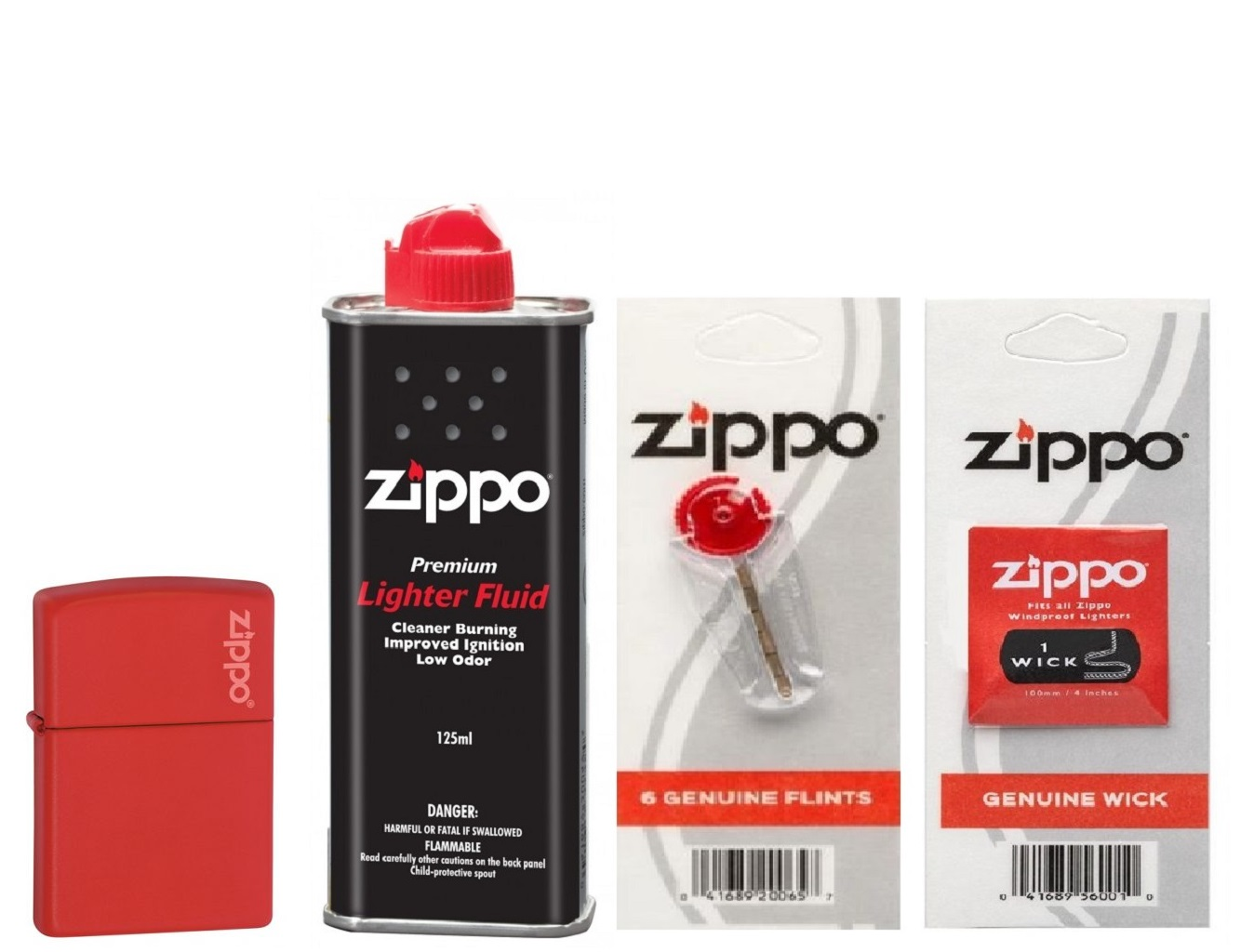 Combo 4 sản phẩm : Bật lửa Zippo Red Matte with Logo 233ZL+Xăng+Đá+Bấc