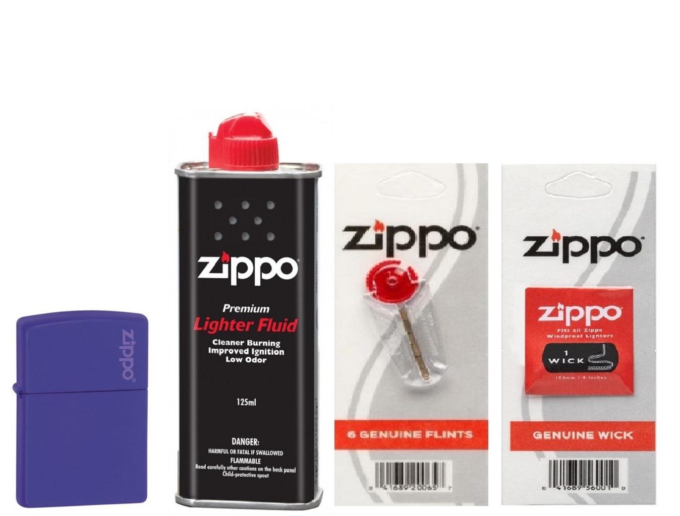 Combo 4 sản phẩm : Bật lửa Zippo Matte Purple with Logo 237ZL+Xăng+Đá+Bấc